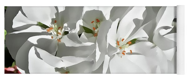 White Geraniums Yoga Mat