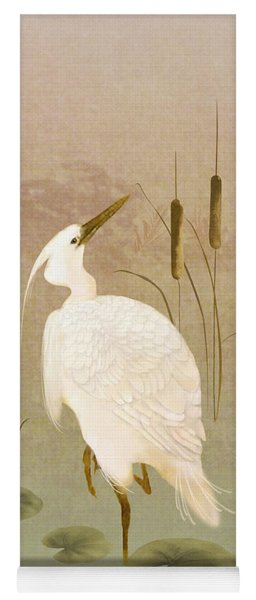White Heron In Bulrushes Yoga Mat