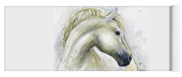 White Horse Watercolor Yoga Mat