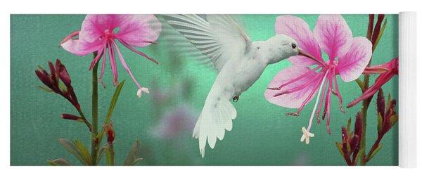 White Hummingbird And Pink Guara Yoga Mat