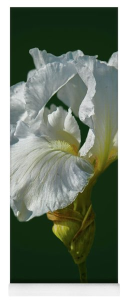 White Iris On Dark Green #g0 Yoga Mat