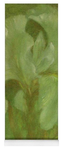 White Iris Painterly Texture Yoga Mat