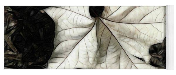 White Leaf On The Ground Yoga Mat