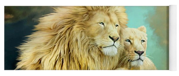 Yoga Mat featuring the mixed media White Lion Family - Unity by Carol Cavalaris