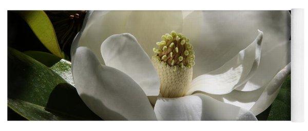 White Magnolia Flower Yoga Mat