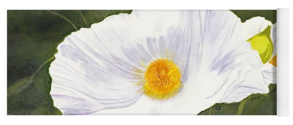 White Matilija Poppy  Yoga Mat
