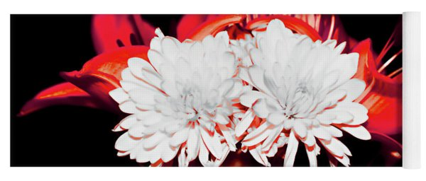 White Mums And Red Lilies Yoga Mat