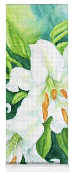 White Oriental Lilies Yoga Mat