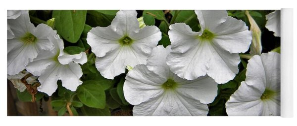 White Petunias Yoga Mat