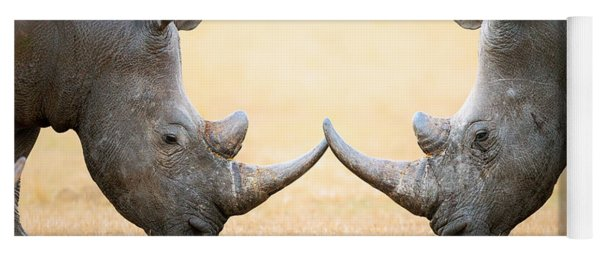 White Rhinoceros  Head To Head Yoga Mat