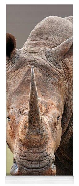 White Rhinoceros Portrait Yoga Mat