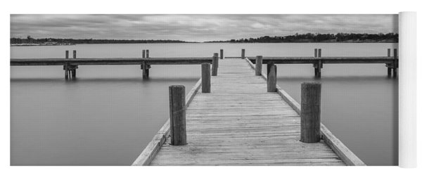 White Rock Lake Pier Black And White Yoga Mat