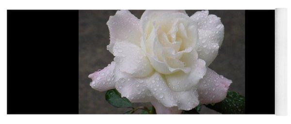 White Rose In Rain - 3 Yoga Mat