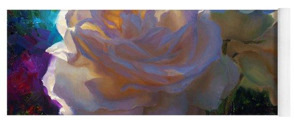 White Roses In The Garden - Backlit Flowers - Summer Rose Yoga Mat