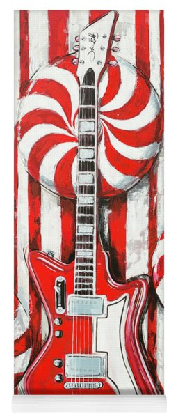 White Stripes Guitar Yoga Mat