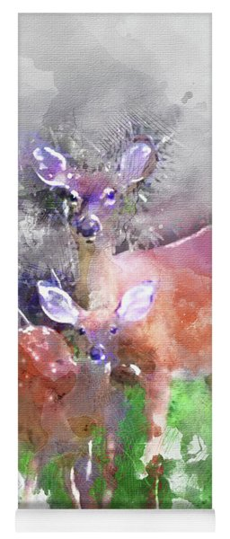 White Tail Deer In Watercolor Yoga Mat