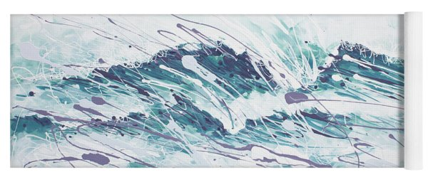 Yoga Mat featuring the painting White Wave Abstract by William Love