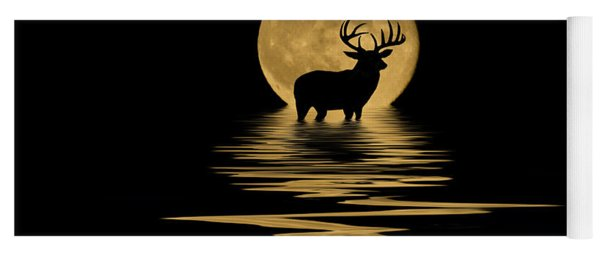 Whitetail Deer In The Moonlight Yoga Mat