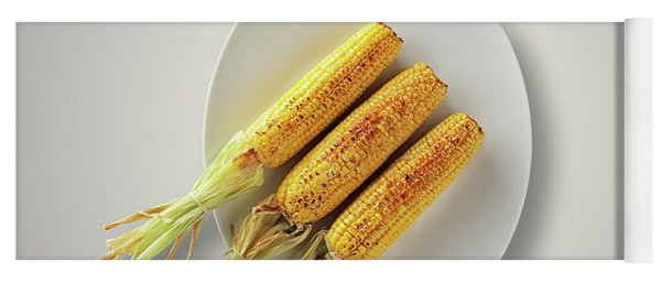 Whole Grilled Corn On A Plate Yoga Mat
