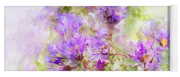 Wild Flowers In The Fall Watercolor Yoga Mat