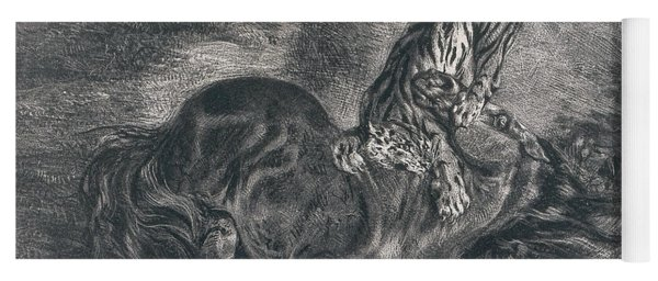 Wild Horse Felled By A Tiger Yoga Mat