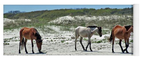 Wild Horses On The Beach Yoga Mat