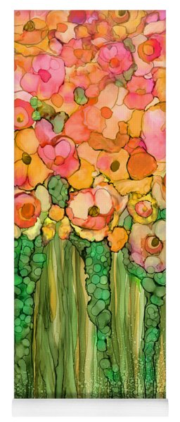 Yoga Mat featuring the mixed media Wild Poppy Garden - Gold by Carol Cavalaris