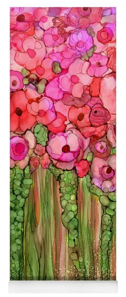 Yoga Mat featuring the mixed media Wild Poppy Garden - Pink by Carol Cavalaris