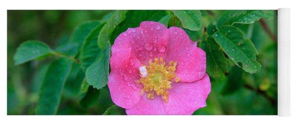 Wild Rose On Green Yoga Mat