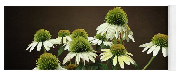 Wild White Coneflowers Yoga Mat