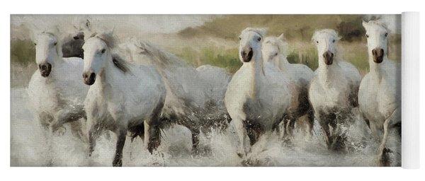 Wild White Horses Of The Camargue I Yoga Mat