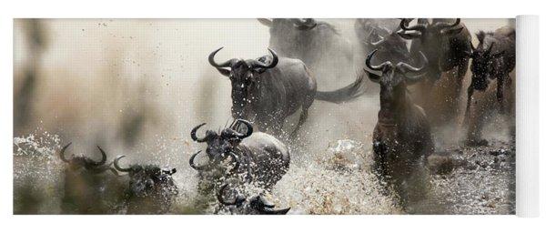 Wildebeest Herd Crossing The Mara River Yoga Mat