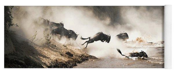 Wildebeest Leap Of Faith Into The Mara River Yoga Mat