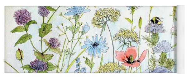 Wildflower And Bees Yoga Mat