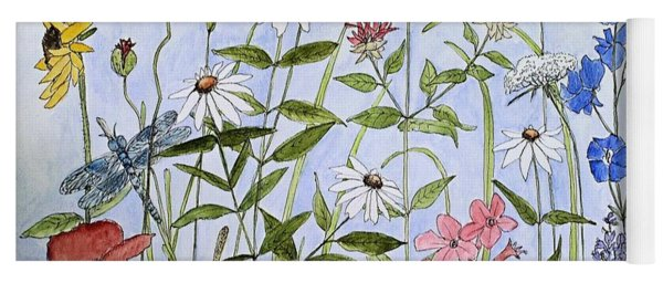 Wildflower And Blue Sky Yoga Mat