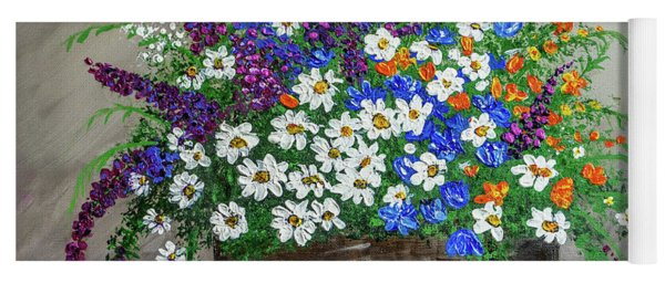 Wildflower Basket Acrylic Painting A61318 Yoga Mat