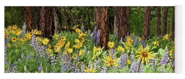 Balsamroot And Lupine In A Ponderosa Pine Forest Yoga Mat