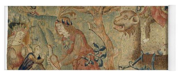 Wildmen And Animals In A Landscape Fragment, Anonymous, C. 1500 - C. 1520 Yoga Mat