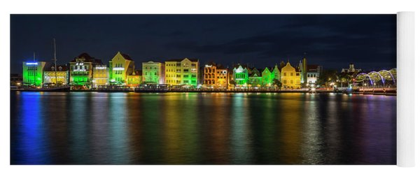 Yoga Mat featuring the photograph Willemstad And Queen Emma Bridge At Night by Adam Romanowicz