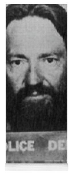 Willie Nelson Mug Shot Vertical Black And White Yoga Mat