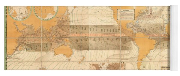 Wind Map Of The World - Meteorological Chart - Historic Chart Of The Wind Currents - Old Atlas Yoga Mat