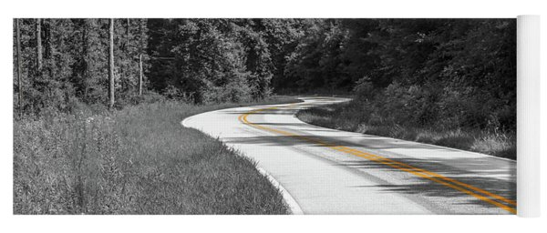 Yoga Mat featuring the photograph Winding Country Road In Selective Color by Doug Camara