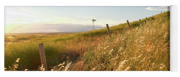Windmill And The Fence Sundown Yoga Mat
