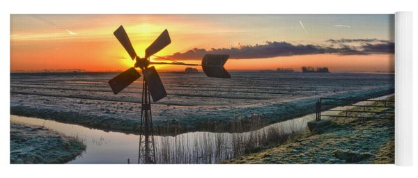 Windmill At Sunrise Yoga Mat