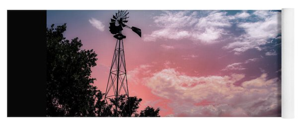 Windmill At Sunset Yoga Mat