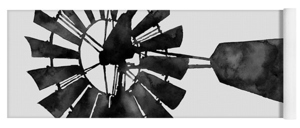 Windmill In Black And White Yoga Mat