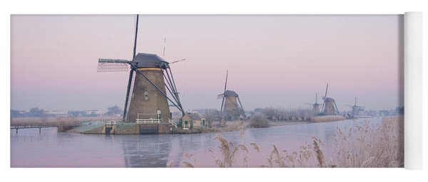 Windmills In The Netherlands In The Soft Sunrise Light In Winter Yoga Mat