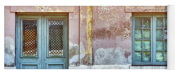 Yoga Mat featuring the photograph Window And Door Of Old Train Station by Eduardo Jose Accorinti