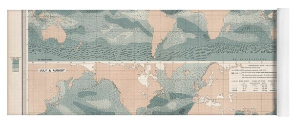 Winds Over The Oceans - Meteorological Map - Geological Map - Wind Direction And Speed Chart Yoga Mat