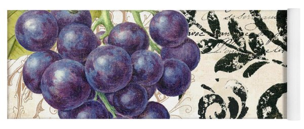 Wine Grapes And Damask Yoga Mat